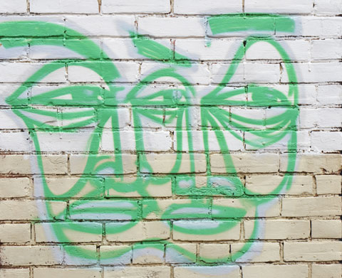 a line drawing graffiti of two faces merged into one, 2 noses, trhee eyes, two mouths,