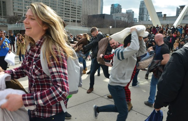 people, pillow fight, Nathan Phillips Square