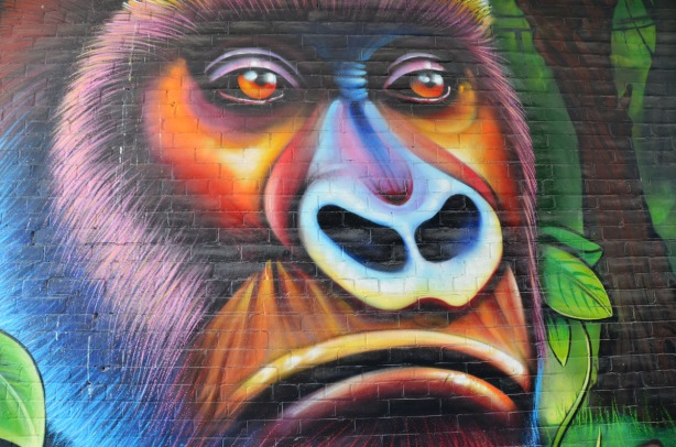 part of a large colourful mural by clandestinos smoky and shalak - close up of a large gorilla face