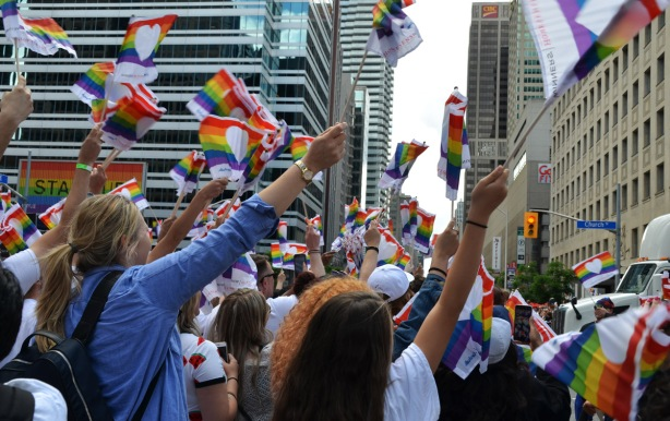 lots of people with arms up in the air waving small rainbow flags