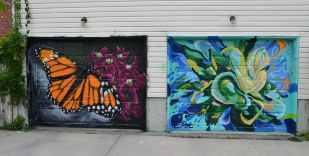 a mural on a garage door in an alley, part of butterflyways project - two adjacent garage doors, the left one is a monarch butterfly landing on pink flowers, on the right is a riot of blues and greens