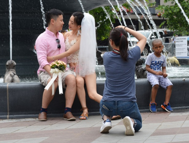 a photographer is taking engagement pictures of an Asian young couple as they sit on the edge of the fountain at Berczy park. The fountain features sculptures of dogs that spout water into the fountain. A young boy is also sitting on the edge of the fountain. He is looking forlornly at the photographer, looks like he's feeling left out.