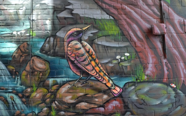 part of a large colourful mural by clandestinos smoky and shalak - a small bird sitting on a rock by a creek