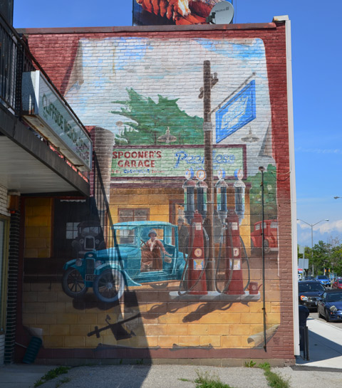 mural of gas station, Spooners Garage, from the 1920s or 1930s