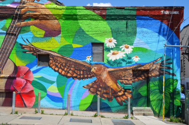 large mural by Tilay and Aner - an owl in flight, some white daisies
