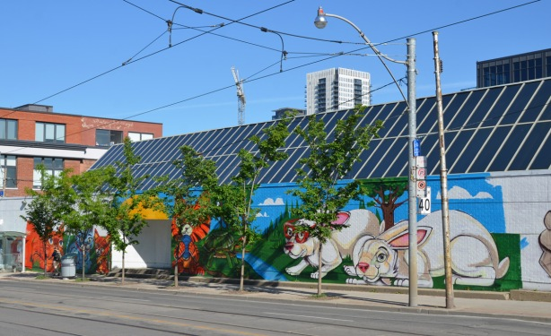 a long mural on the south wall of the Toronto Humane Society, brightly coloured cats, dogs, turtles and rabbit, painted by uber5000, larger than life sized animals.