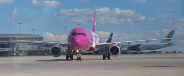 pink airplane from Wow airlines taxis to a gate at the airport