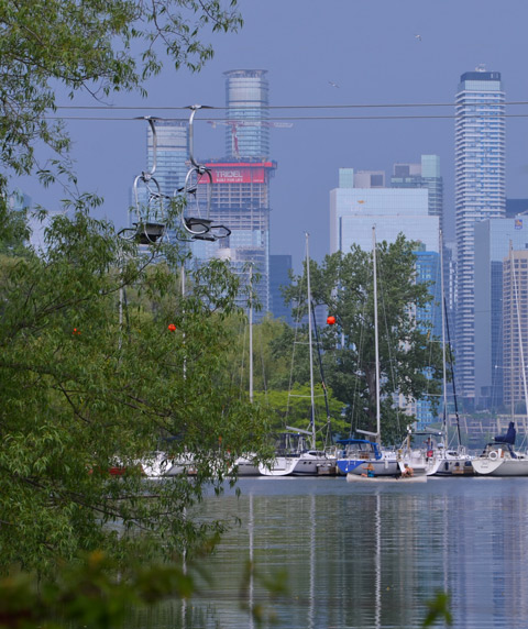 view across channel towards island yacht club and then the Toronto skyline beyond,