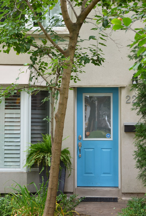 turquoise blue front door with a window in it, on a beige stucco house