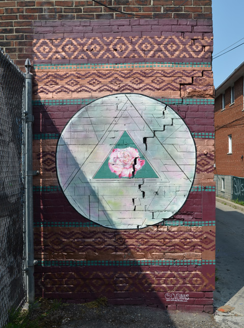 pink flower in a green triangle surrounded by a circle, street art