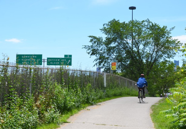 cyclist on a path, riding away from the camera, fence to the left of him/her, green signs on the Don Valley Parkway to the far left. exit sign for Bayview and Bloor.