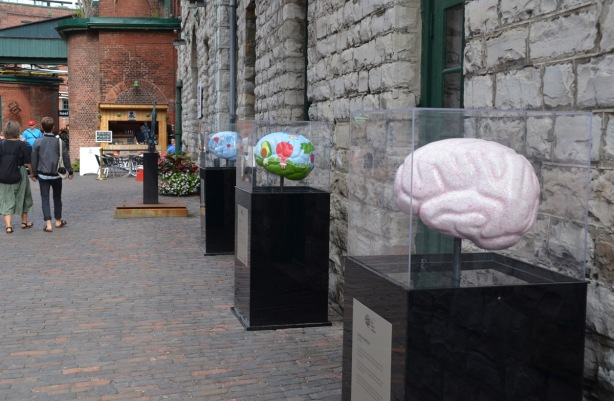brain sculptures as part of the Baycret Foundation's Brain Project on display outside at the Distillery District