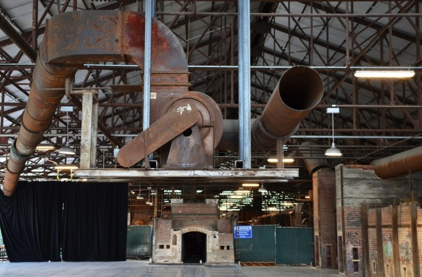 large ceiling pipes, exhaust system for old brickworks kilns, some of the old kilns as well