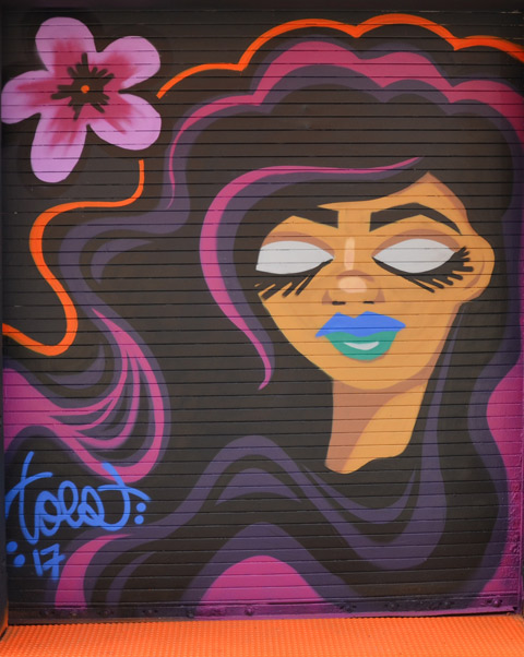 a smal street art painting by toes of a pink flower and a woman's head, long dark hair with streaks of pink, blue lips, and eyes closed