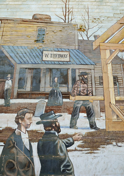 part of a mural, historic scene, old store with name W. Tedway above the door, people in period costumes, circa 1867. winter scene