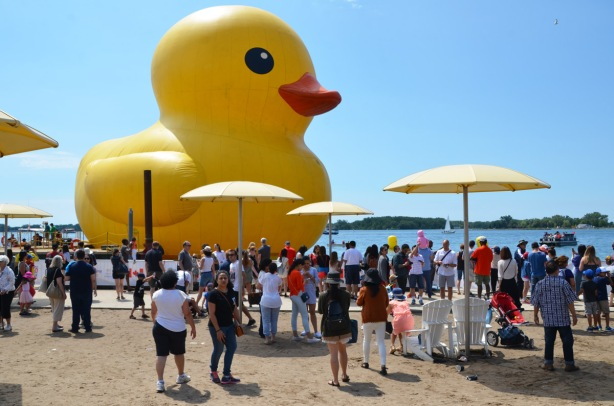 big yellow duck, side view, people on shore