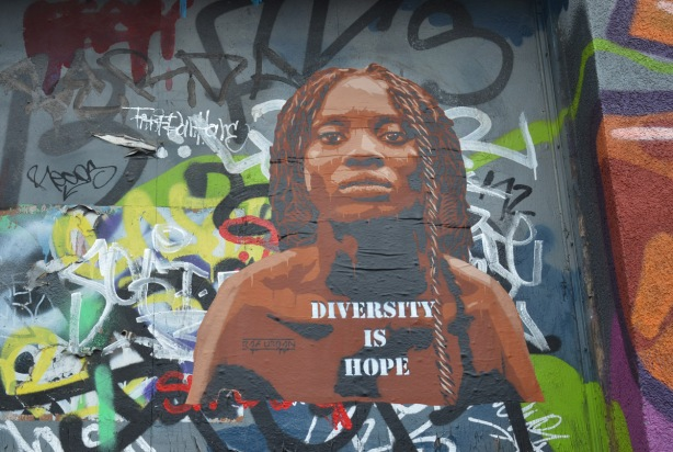 poster street art of a black woman's head and shoulders, 3/4 angle. She is wearing dreadlocks. The words on the poster say Diversity is Hope