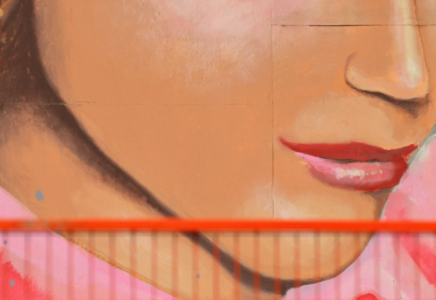 close up of a wall painted with the face of a young woman, showing lips and cheeks and part of nose