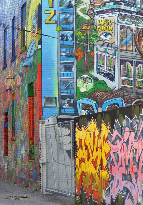 street art, graffiti, and murals on walls and garages in GRaffiti Alley