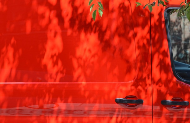 the side of a bright red van, with some leaves and shadows from a small tree