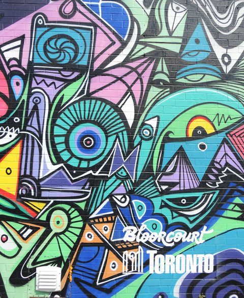 Bloorcourt mural details, colours and shapes all outlined in black