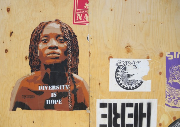 diversity is hope pasteup with picture of black woman with dreadlocks