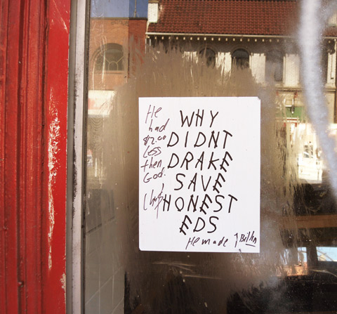 Why didn't Drake save Honest Eds poster that someone has written on