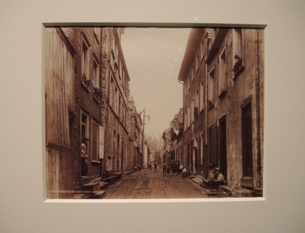 vintage albumen print photo, 1890, Little Champlain street in Quebec City. row houses, kids in the street