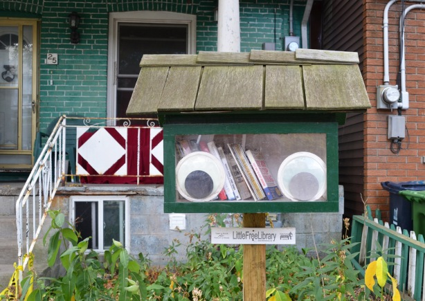 a little free library in front of a green coloured house. Inside the window of the library are two large googly eyes