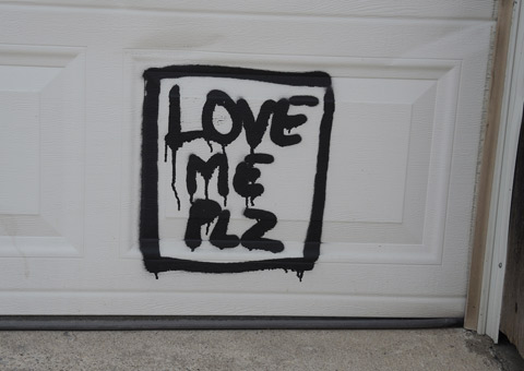 small square around these words, love me plz, written with black paint on a white garage door,