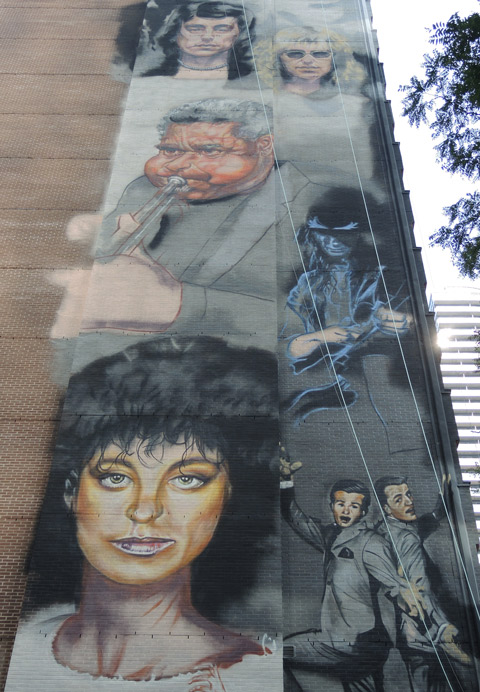 Canadian musicians on a wall, mural by Adrian Hayles,