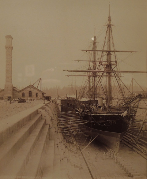 vintage photo, 1887 ship being built, wood, in Victoria B.C.