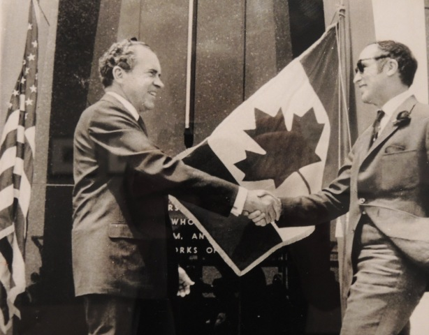 vintage photo of Richard Nixon, President of the United States, greeting Pierre Elliott Trudeau, Prime Minister of Canada