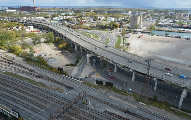 view from above, railway tracks, road, waterfront, Lake Ontario,