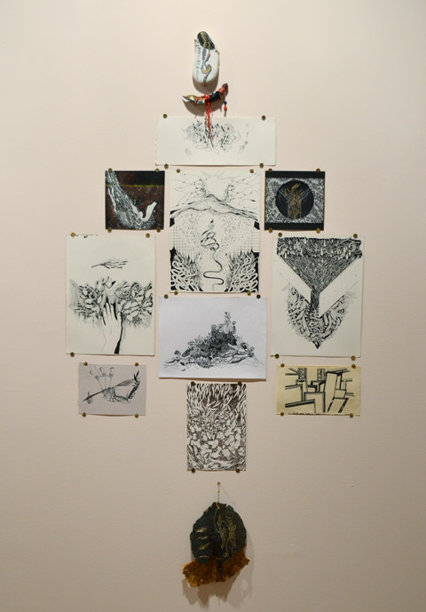 pen and ink, and paint, drawings by sab meynert on a gallery wall, thumb tacked to the wall,