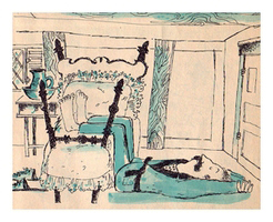 illustration by Sally Matthews of a picture of a large man sleeping half on the floor and half on his tiny bed in his tiny bedroom. From the children's book Benjamin Budge and Barnaby Small