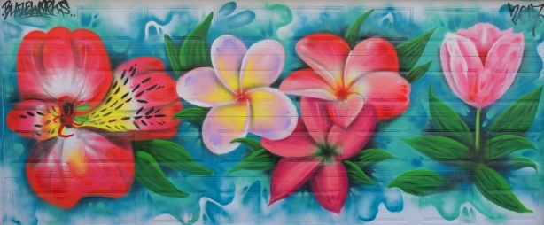 big bright pink flowers, mural on a garage door by Blazeworks
