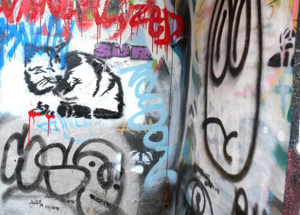 graffiti in a doorway. stencil cat, words that say  just a pawn, stencil small man screaming