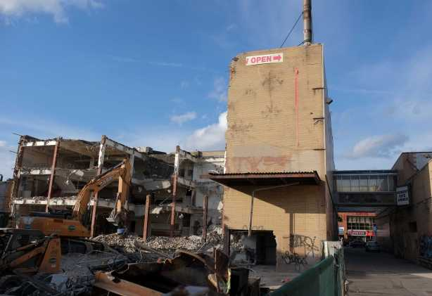 part of Honest Eds is still standing and part is demolished