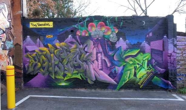 mural on side of building, purple,