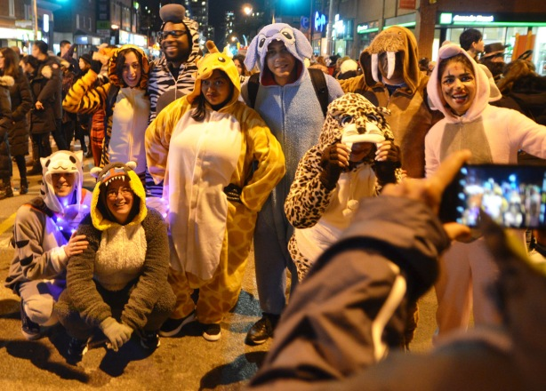 a group in full animal costumes pose for a photo, a walrus, a shark, a cat, a leopard,