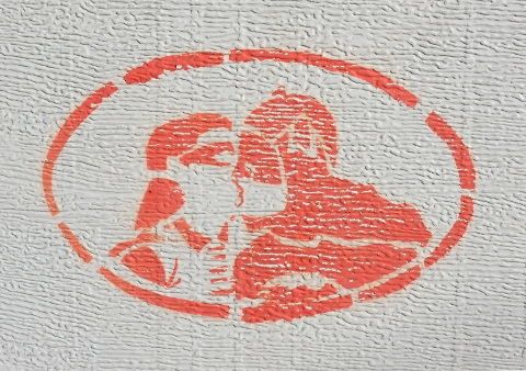orange stencil, batman kissing robin the boy wonder