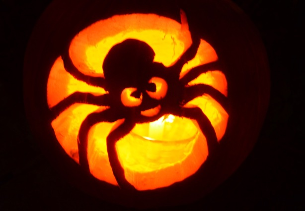 candle in a pumpkin carved into a spider jack o'lantern