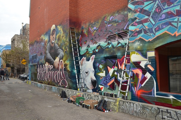 tribute memorial mural to Mike Kennedy in Graffiti Alley