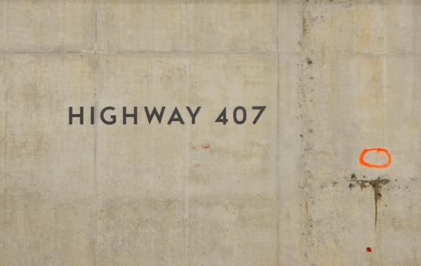 concrete wall of the subway, with words highway 407 on the wall, at the new Highway 407 subway station TTC