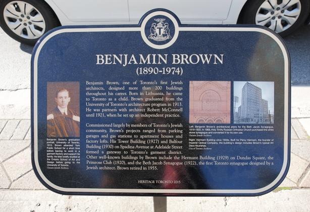 toronto historic sites plaque to benjamin brown