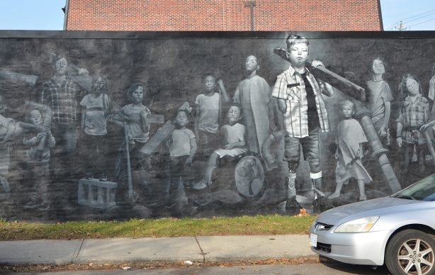 mural on the side of an old building, black and white, by omen, an ad for Sick Kids hospital, 4 sick kids waiting for treatment.