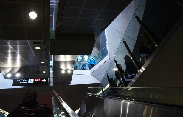escalators and shiny walls of Vaughan subway station