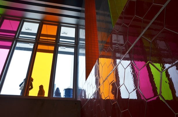 coloured glass at Finch West station