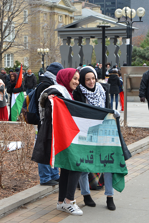 protest at Trumps decision to recognize Jerusalem as capital of Israel, University Ave.